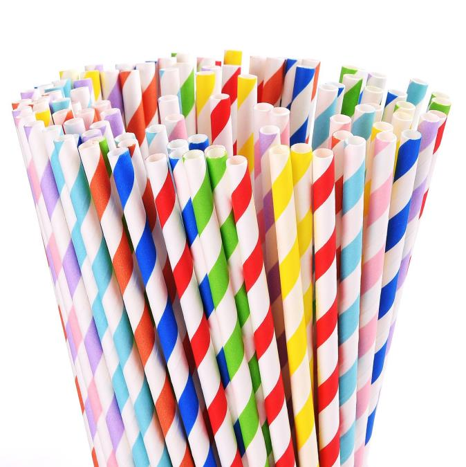 Colorful disposable paper straws biodegradable